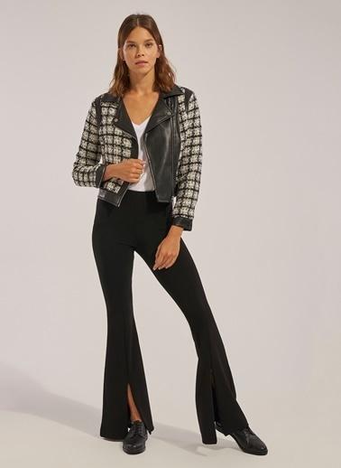 Monamoda Paçası Açılabilir Fermuarlı Likralı İspanyol Pantolon Siyah